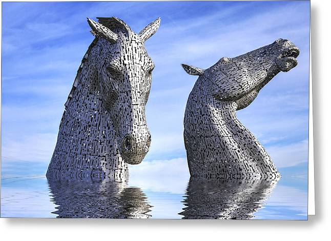 Kelpie Photographs Greeting Cards - The Kelpies Greeting Card by Jim Sloan