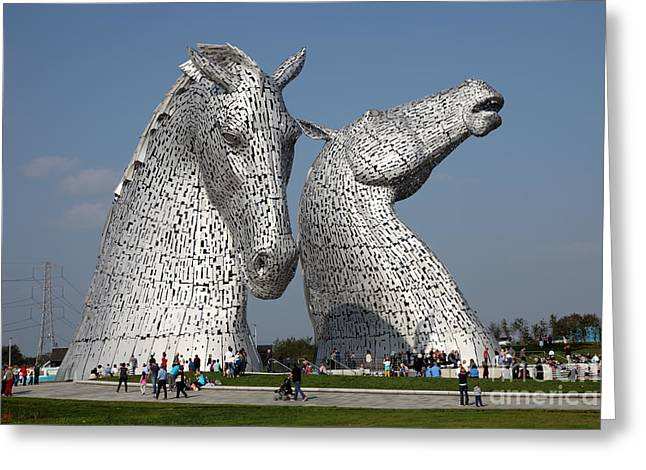 Kelpie Art Greeting Cards - The Kelpies Greeting Card by Ros Drinkwater