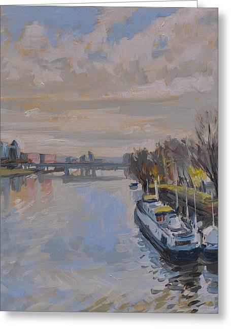 Limburg Paintings Greeting Cards - The Kennedy Bridge Maastricht Greeting Card by Nop Briex