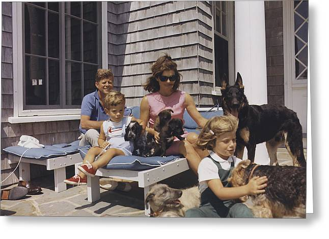 The Kennedy Family With Dogs Greeting Card by National Archives