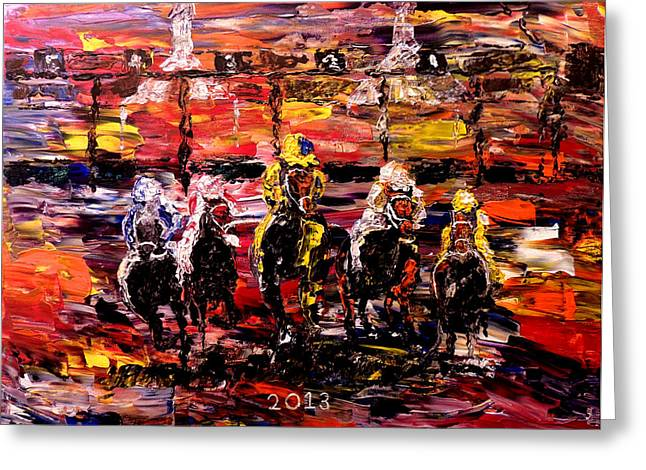 Mark Moore Paintings Greeting Cards - The Kentucky Derby 2013  And Theyre Off  Greeting Card by Mark Moore