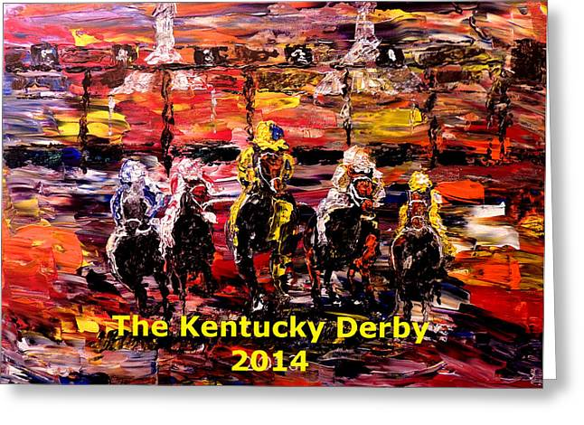 Pallet Knife Photographs Greeting Cards - The Kentucky Derby 2014- And Theyre Off Without Year  Greeting Card by Mark Moore