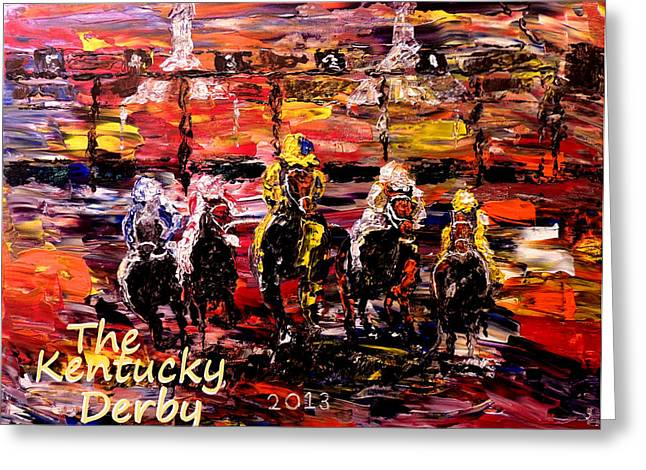 Pallet Knife Photographs Greeting Cards - The Kentucky Derby - And Theyre Off  Greeting Card by Mark Moore