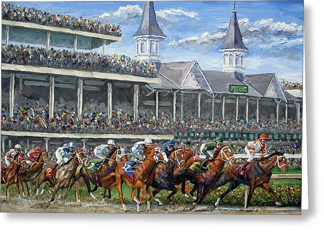 The Kentucky Derby - Churchill Downs Greeting Card by Mike Rabe