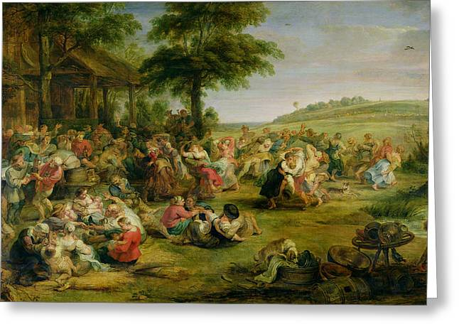 Rustic Scenes Greeting Cards - The Kermesse, C.1635-38 Oil On Panel Greeting Card by Peter Paul Rubens