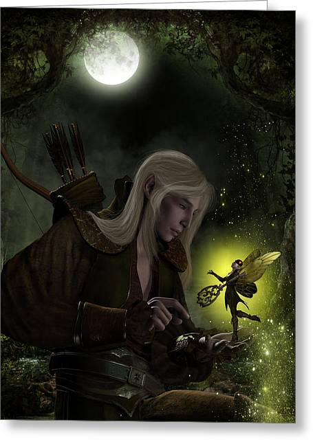 Elven Archer Greeting Cards - The Key Bargain Greeting Card by Suzanne Amberson