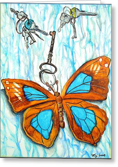 Pendants Drawings Greeting Cards - The Keys Greeting Card by Daniel Janda