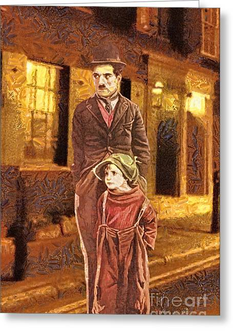 Chaplin Poster Greeting Cards - The Kid Greeting Card by Mo T