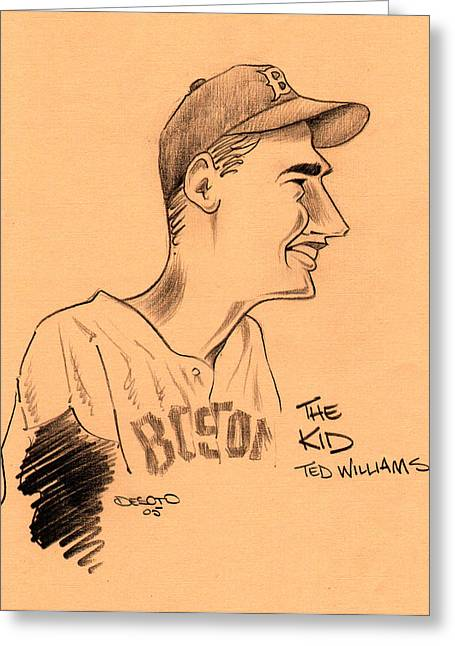 Cooperstown Drawings Greeting Cards - The Kid - Ted Williams Greeting Card by Ben De Soto