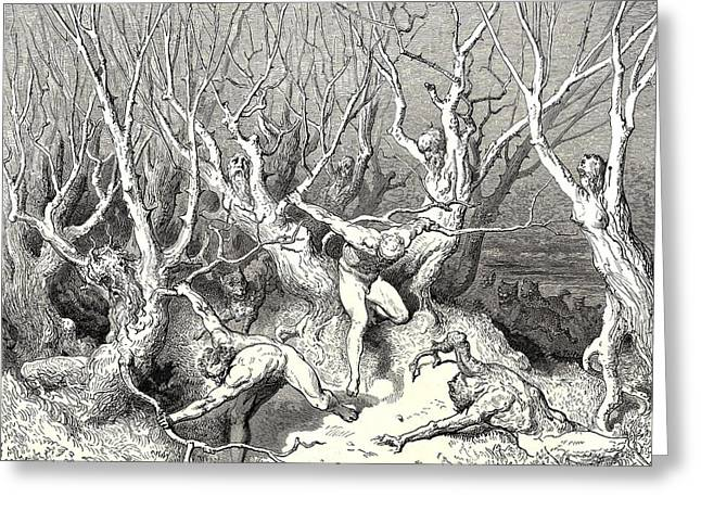 Dore Digital Greeting Cards - The  Killing Trees From Dantes Inferno Greeting Card by Gustave Dore