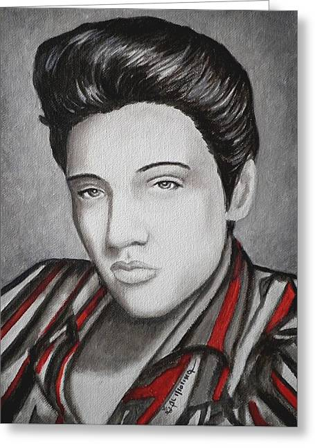 Elvis The King Greeting Cards - The King Greeting Card by Al  Molina