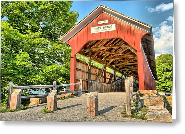 Covered Bridge Greeting Cards - The King Covered Bridge Greeting Card by Adam Jewell