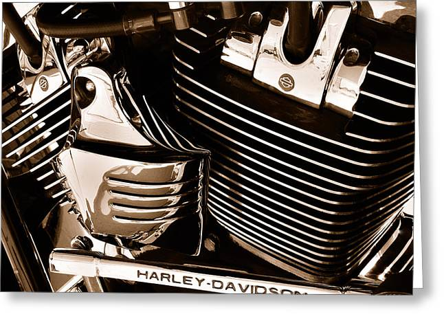 Road Travel Greeting Cards - The King - Harley Davidson Road King Engine Greeting Card by Steven Milner