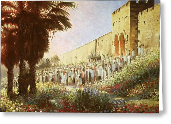 21 Greeting Cards - The King is Coming  Jerusalem Greeting Card by Graham Braddock