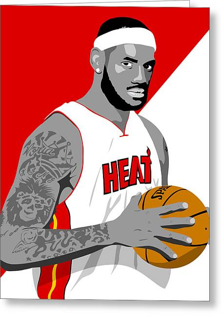 Miami Heat Digital Art Greeting Cards - The KING Lebron James Greeting Card by Paul Dunkel