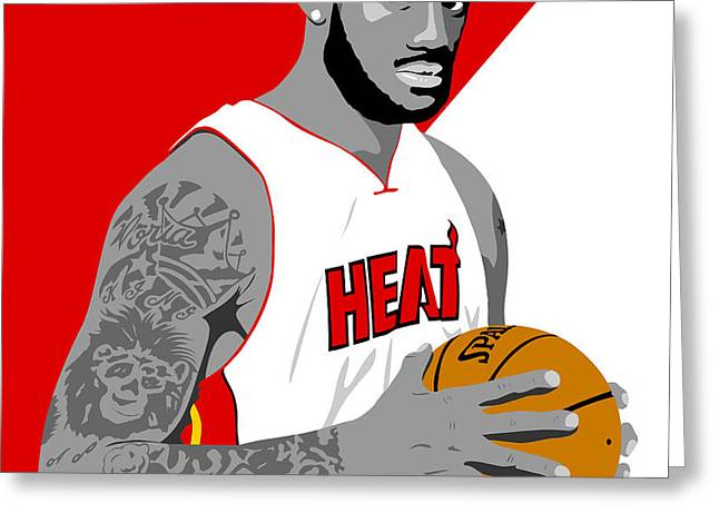 The KING Lebron James Greeting Card by Paul Dunkel