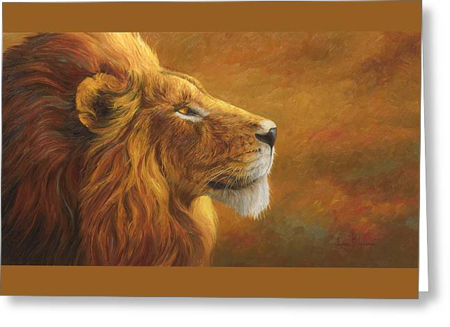 Lion Greeting Cards - The King Greeting Card by Lucie Bilodeau