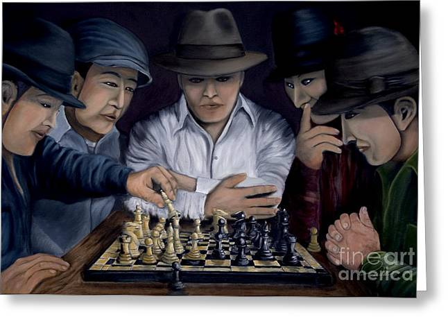 Chess Piece Paintings Greeting Cards - The King Makers Greeting Card by Andrew Wells