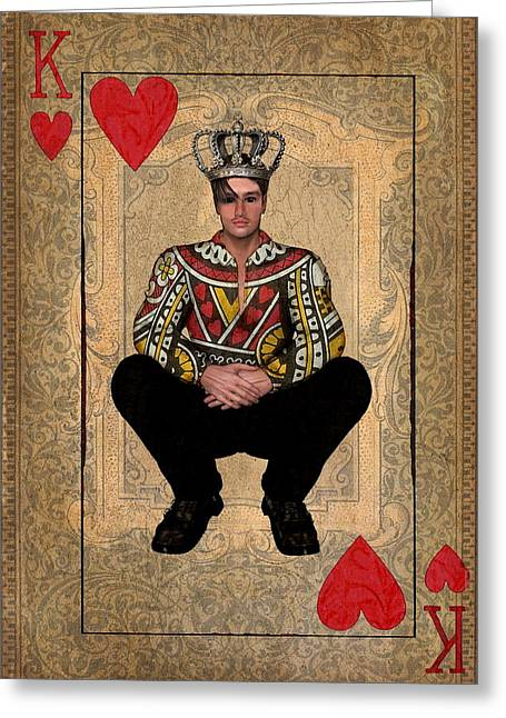 Playing Cards Mixed Media Greeting Cards - The King of Hearts Greeting Card by Terry Fleckney
