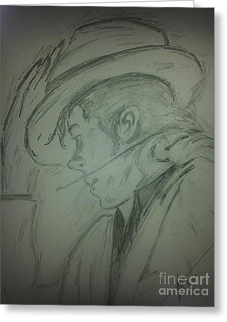 Michael Jackson Sketch Greeting Cards - The King of pop Greeting Card by Collin A Clarke