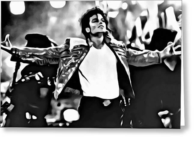 Michael Jackson Greeting Cards - The King of Pop Greeting Card by Florian Rodarte