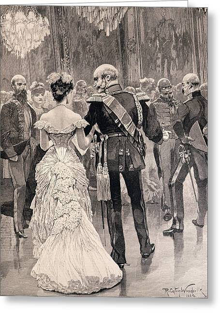 Williams Greeting Cards - The King Of Prussia At A Court Ball In 1862, Pointing Out Bismarck, His New Minister Of State Greeting Card by Richard Caton II Woodville