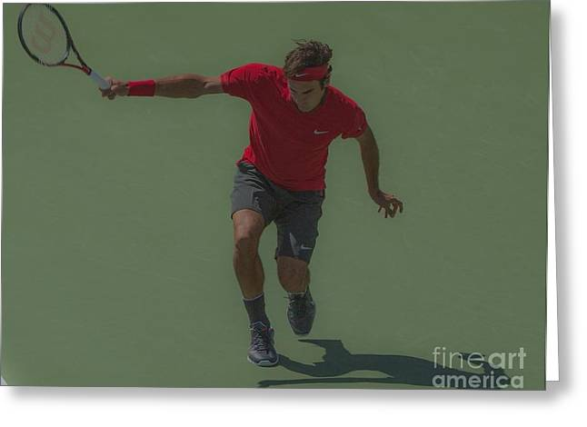 Roger Federer Greeting Cards - The King Of Tennis Greeting Card by Terry Cosgrave