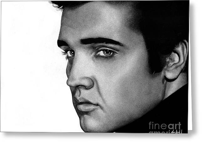 Elvis Presley Drawing Greeting Cards - The King Greeting Card by Sheryl Unwin