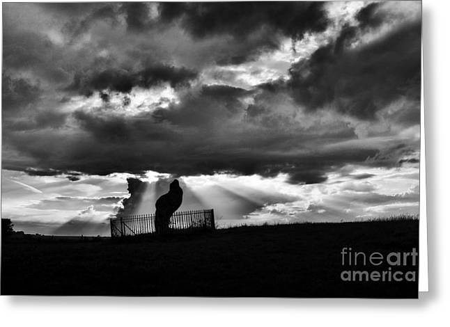 Sacred Circle Greeting Cards - The King stone and Storm Clouds Greeting Card by Tim Gainey