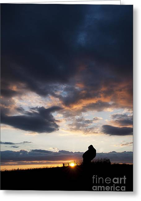 Bronze Age Greeting Cards - The King Stone Sunset Greeting Card by Tim Gainey