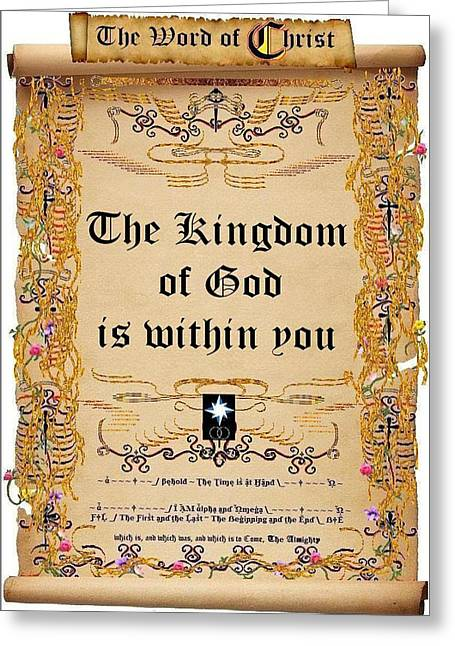 Calligraphy Print Greeting Cards - The Kingdom of God is within You Greeting Card by Stephen Kovacs