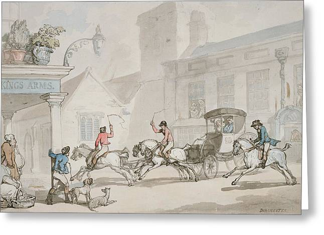 Horse-drawn Greeting Cards - The Kings Arms, Dorchester Greeting Card by Thomas Rowlandson