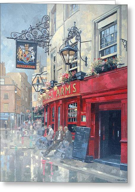 Public Greeting Cards - The Kings Arms, Shepherd Market, London Oil On Canvas Greeting Card by Peter Miller
