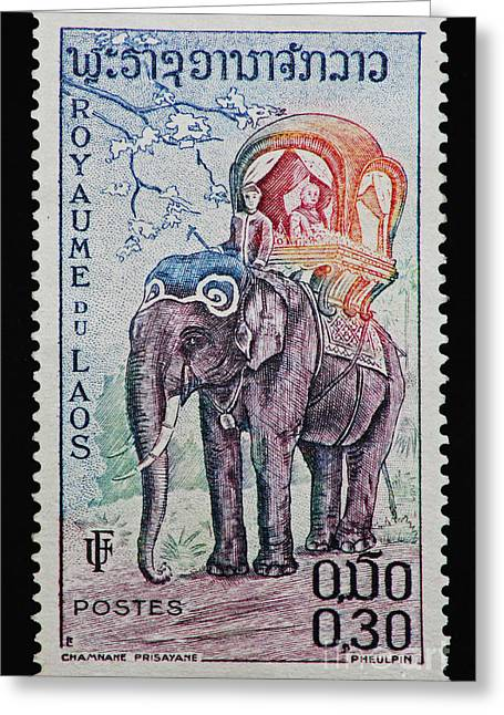 Royal Family Arts Greeting Cards - The Kings Elephant Vintage Postage Stamp Print Greeting Card by Andy Prendy