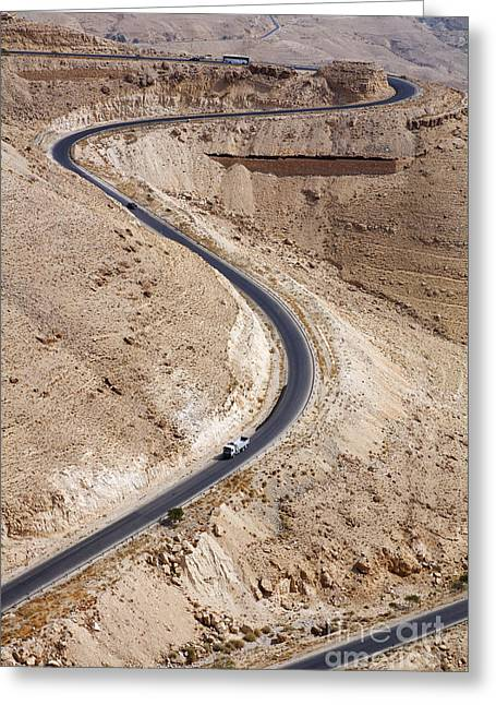 Jordan Hill Greeting Cards - The Kings Highway at Wadi Mujib Jordan Greeting Card by Robert Preston