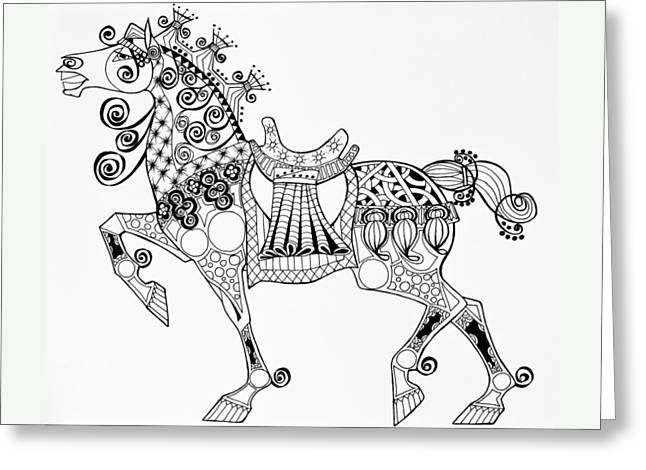 The King's Horse - Zentangle Greeting Card by Jani Freimann