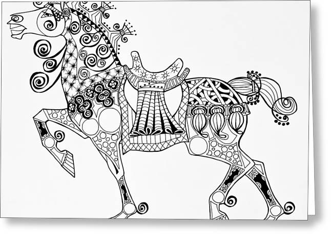 Horse Images Drawings Greeting Cards - The Kings Horse - Zentangle Greeting Card by Jani Freimann