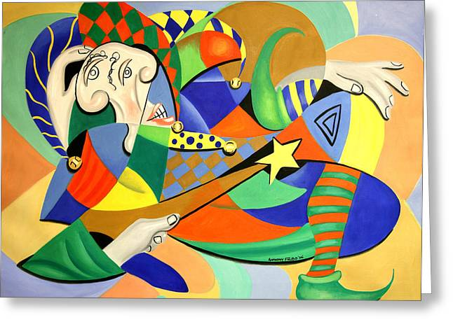 Cubism Prints Greeting Cards - The Kings Jester Greeting Card by Anthony Falbo