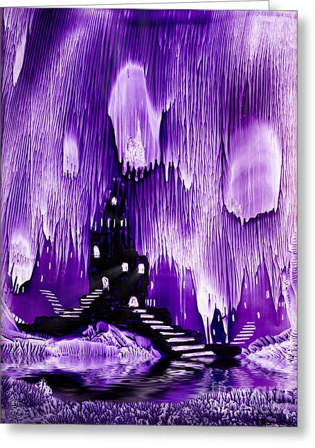Encaustic Greeting Cards - The Kings purple castle painting in wax Greeting Card by Simon Bratt Photography LRPS