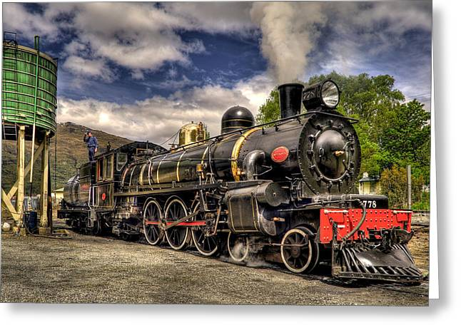 Aotearoa Greeting Cards - The Kingston Flyer Greeting Card by Phil
