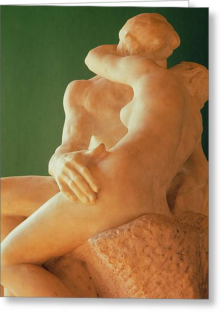 Embrace Greeting Cards - The Kiss, 1880 Marble Greeting Card by Auguste Rodin