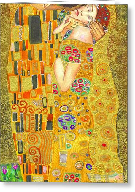 The Kiss Paintings Greeting Cards - The Kiss after Klimt Greeting Card by Kate Bedell