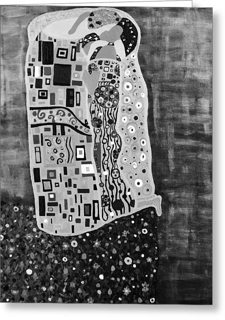 Romance Mixed Media Greeting Cards - The Kiss BW Greeting Card by Angelina Vick