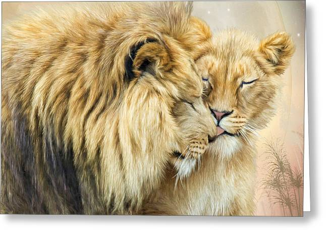 African Lion Art Greeting Cards - The Kiss Greeting Card by Carol Cavalaris