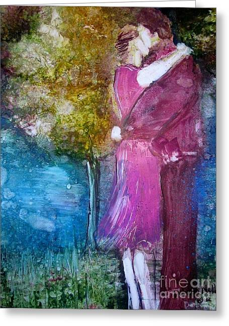 First Love Greeting Cards - The Kiss Greeting Card by Deborah Nell