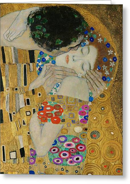1907 Greeting Cards - The Kiss detail Greeting Card by Gustav Klimt