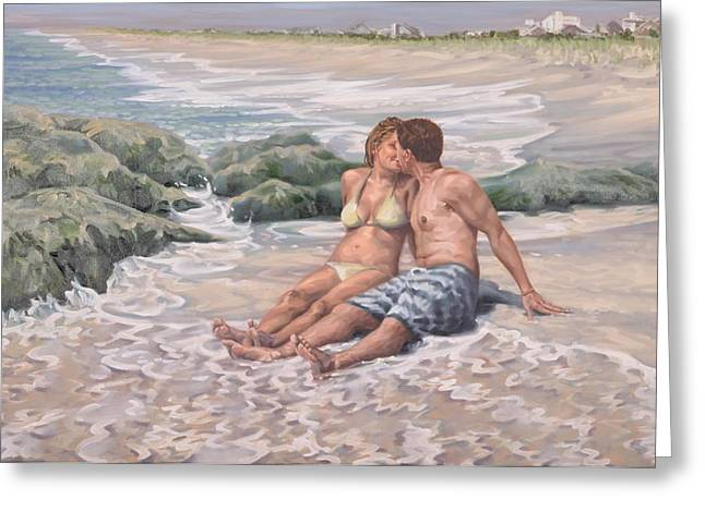 Couple Kissing On Beach Greeting Cards - The Kiss Greeting Card by Gary Long