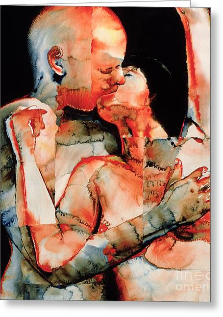 Passion Greeting Cards - The Kiss Greeting Card by Graham Dean