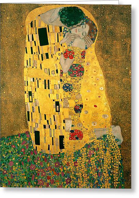 Woman In A Dress Greeting Cards - The Kiss Greeting Card by Gustive Klimt