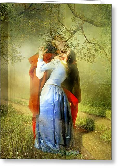 Romance Mixed Media Greeting Cards - The Kiss - Modern Version Of The Story Greeting Card by Georgiana Romanovna